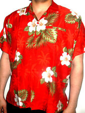 MENS SEXY RED HIBISCUS FLORAL TROPICAL WEDDING PALMTREE HAWAIIAN SHIRT SZ S- 3XL