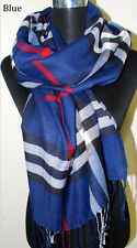 New Fashion Women's Man's Long Soft Plaid Wrap Lady Shawl Stole Scarf 10 Colors