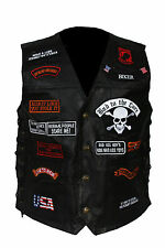 MEN'S BIKER GENUINE BUFFALO LEATHER VEST WITH 23 PATCHES USA FLAG MOTORCYCLE