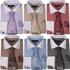 New Men's Checker Dress Shirt French Cuff With Matching Cuff- Links Style AH615