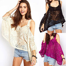 NEW Women Floral Lace Batwing Sleeve Loose Crochet Casual T-Shirt Tee Top Blouse