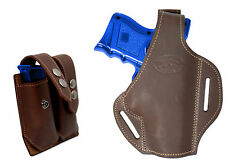 New Brown Leather Pancake Gun Holster + Dbl Mag Pouch Springfield Comp 9mm 40 45