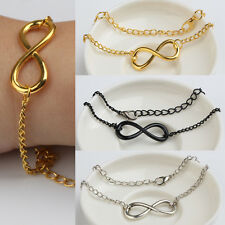 Fashion Punk Metal Infinite Infinity Sign Bracelets Simple 8 Symbol Charm Chain