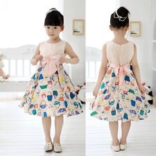 New Sweet Children Kids Girls Bowknot Wedding Princess Dress for 2-13 Years