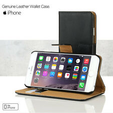 Real Genuine Leather Wallet Card Case Cover per iPhone 4 4S 5 5S + Screen Shield