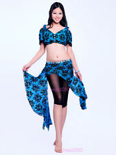 New Belly Dance Costume 2 pics Lace Bra Blouse Top&Hip Scarf Belt Skirt 2 colors