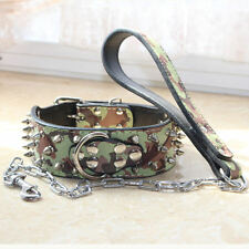 Free Shipping Leather Spiked Studded Dog Collar+Chain Leash Camo SET fit PitBull
