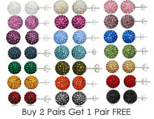 10mm Crystal Shamballa Disco Ball Stud Earrings * UK SELLER * BUY 2 GET 1 FREE *