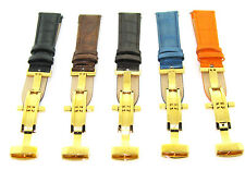 18 19 20 21 22 23 24MM LEATHER BAND STRAP DEPLOYMENT CLASP FOR BREITLING 2B GOLD