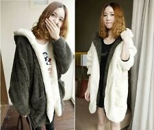 Fashion artificial wool long sleeve hooded cardigan coat jacket fluffy size:8-16