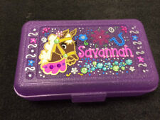 Custom Personalized Pencil Color Art Box HORSE Shoe Bling School Supplies