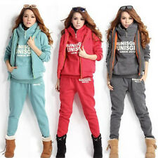 Women's Autumn Winter Warm Coat+Vest+Pants Casual Suit Tracksuit Sports Hoodies
