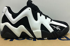 MENS NEW REEBOK KAMIKAZE II LOW BLACK WHITE SHAWN KEMP BASKETBALL SNEAKERS