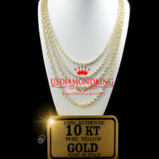 NEW REAL10K YELLOW GOLD DIAMOND CUT HOLLOW ROPE CHAIN NECKLACE 1.5 MM 14~24 INCH