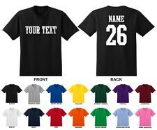 Custom Name & Number Personalized Youth T-shirt, Choose Text STRAIGHT TEXT