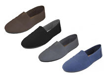 MENS CASUAL SLIP ON FLAT CANVAS SHOES BLACK NAVY GREY BROWN SIZES 7 - 12.  S308M
