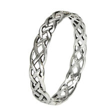 Small Narrow Woven Celtic Knot Ring Band Sz 4-15 Sterling Silver Irish Jewelry