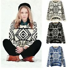 Winter Women Warm Geometric Pattern Kintted Wear Short Pullover Jumper Sweater
