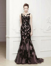 Stock Black lace Mermaid Long Formal Morther Evening Dress Bridesmaid Prom Gowns