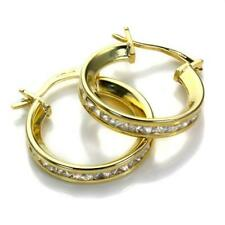 9ct Gold & Crystal CZ Princess Set Huggy Hoop Cuff Huggie Hoop Earrings