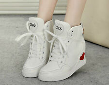 Womens chic Hidden Wedge Heel Lace Up Sneaker Athletic Skateboard Casual Shoes