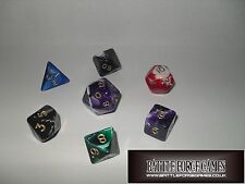 MARBLE DICE SETS - Multi Sided Poly Dice D20 D6 RPG D&D ROLE PLAY NEW