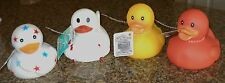 Rubber Duck Bath Tub Squeeze Play Toy Squeeker Stars Wings Orange White Yellow