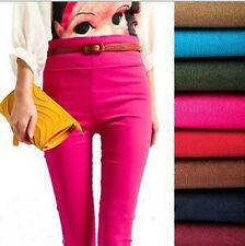 Women Skinny Slim Candy Color Stretch High Waist Pencil Pants Leggings Trousers
