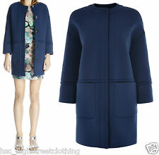 WAREHOUSE Womens Ladies Blue Neoprene Scuba Oversize Cocoon Coat Jacket 6 - 16