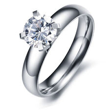 Women's Stainless Steel Shining Crystal AAA Cut CZ Wedding Ring Size 5-8 Silver