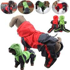 Pet Clothes Small Medium Large Size Breed Dog Heavy Duty Raincoat W Hoodies Red
