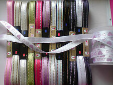 *PRETTY*RIBBON ALL COLOURS 10,7,5mm X 5m cardmaking, sewing,dressmaking,crafting