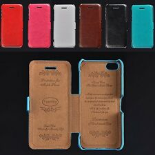 Retro Luxury Glossy PU Leather Case Flip Fitted Cover Skin For Apple iPhone 5C