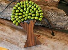 Handcrafted Tree Of Life Wooden Necklace Coloured Beads Pendant Natural Wood