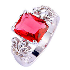 Engagement Gift Emerald Cut Ruby Spinel Gemstone Silver Ring Size 6 7 8 9 10 11