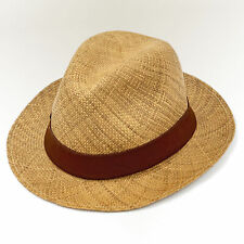 HAND WOVEN TRILBY FEDORA PANAMA HAT 100% AUTHENTIC ORGANIC NATURAL STRAW COLOR