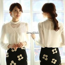 Donne Elegante Casual Puff Lace Hollow floreale camicetta in chiffon T Shirt Top