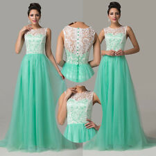 2014 Stunning Lace Formal Evening Party Bridesmaid Gown Cocktail Prom Long Dress