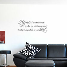 Happiness is not measured by what you hold in your hand... Wall Quote Decals