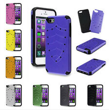 2IN1 Hybrid Glossy Hard Case Skin Silicone Cover For IPhone 4 4S / 5 5S + Screen