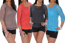 Womens ¾ Sleeve Scoop Neck Lace Tunic Top Ladies Stretch Fit Party Kimono # 49