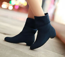 Fashion Womens Round Toe Thick Heel Suede Solid Knight Boots Platform Casual Sho