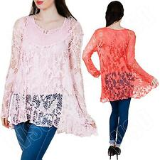 New Womens Ladies Two Layer Italian Long Sleeve Lagenlook Lace Top Plus Size