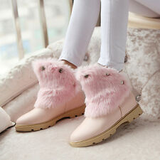 cute new womens fur furry round toe ankle boot low heel snow boot warm Plus size