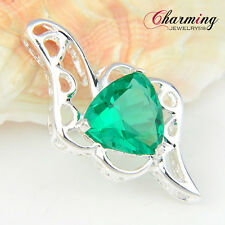 Unique Charming Green Topaz Gemstone Silver Necklace Pendant For Party Gift