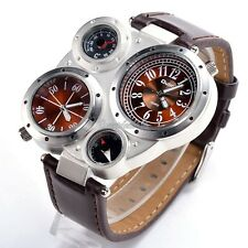 Sports Quartz Wrist Watch Compass Thermometer Leather Strap Multiple Time Zone