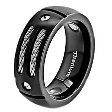 8mm Men's Black Titanium Ring Stainless Steel Cables Screw Design Wedding Ring