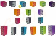 2,3,4 Tier A5 Plastic Handy Drawer Storage Units Assorted Colors Multi Purpose