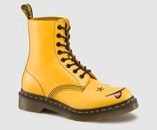 Dr. Martens Women's Hincky Yellow Smooth Leather Smiley Boots 15132700