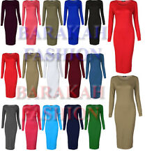 New Womens Ladies Stretchy Jersey Long Sleeve Midi Bodycon Dress Sizes 16-26